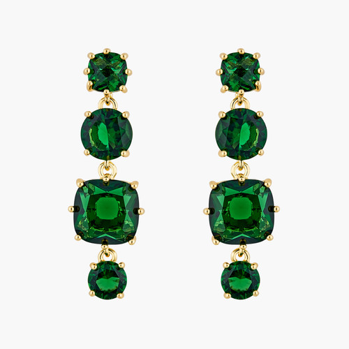 Emerald Green 4 stones Diamantine clip-on earrings | AOLD1201
