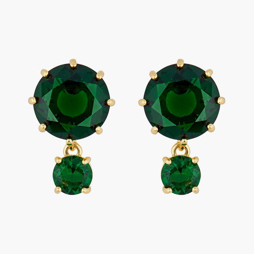 Emerald Green Round Stones Diamantine clip-on earrings | AOLD1261