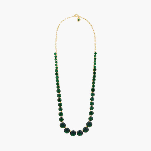 Emerald Green Round Stones Diamantine Luxurious long necklace | AOLD3511