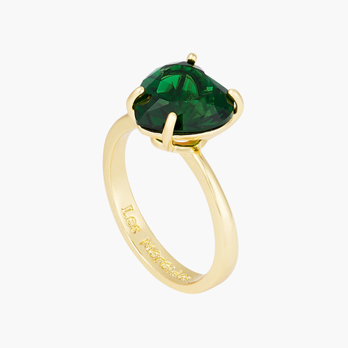Emerald Green Heart Stone Diamantine solitaire ring | AOLD6171