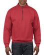 Men's 1/4 Zip Cadet Collar Sweatshirt (Red)