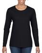 Women's Heavy Cotton Long Sleeve T-Shirt (Black)