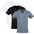 Men's Cotton Stretch V-Neck T-Shirt (White/Black Soot/Grey Flannel)