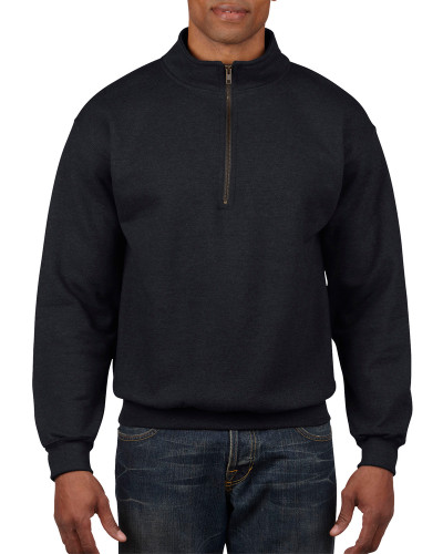 Men's 1/4 Zip Cadet Collar Sweatshirt (Black)