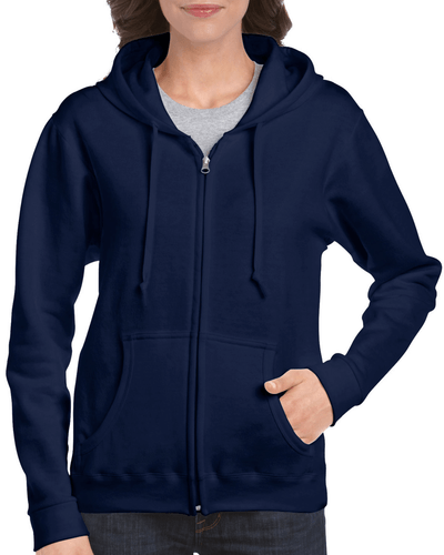 Women's Full Zip Hooded Sweatshirt (Navy)
