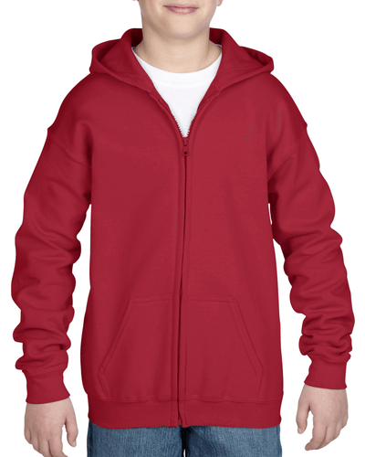 Youth Full Zip Hooded Sweatshirt (Cardinal Red)