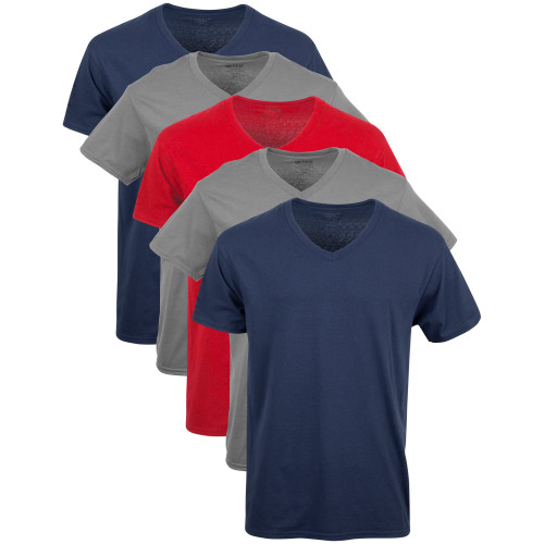 Men's V-Neck T-Shirt (Navy/Charcoal/Red)