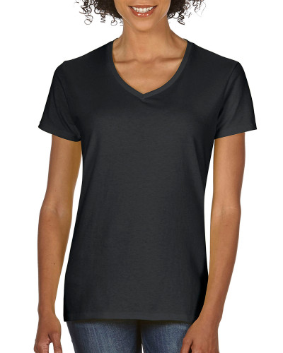 Women's Heavy Cotton V-Neck T-Shirt (Black)