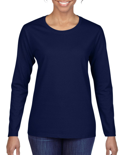 Women's Heavy Cotton Long Sleeve T-Shirt (Navy)