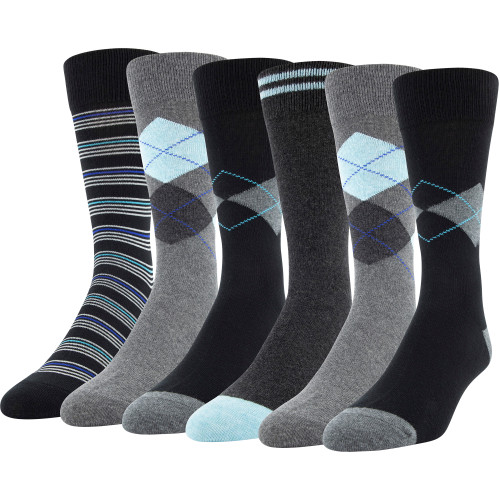 Men's Placed Argyle Dress Crew (Black Argyle/Stripe Assorted)