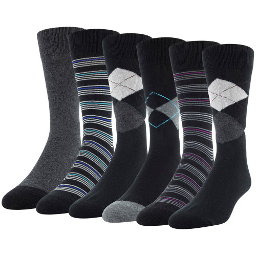 Men's Classic Argyle Dress Crew (Black Argyle/Grey Assorted)