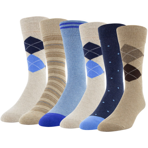 Men's Argyle Dress Crew (Blue/Khaki Assorted)