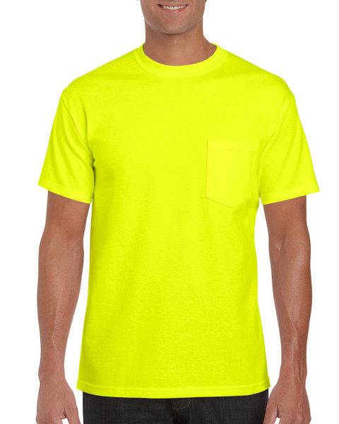 Men's Ultra Cotton Adult T-Shirt with Pocket (Safety Green)