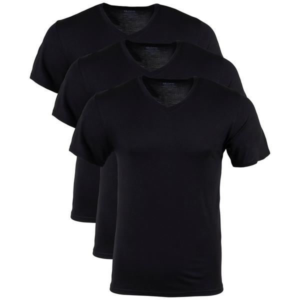 Men's Modal V-Neck T-Shirt (Black Soot)