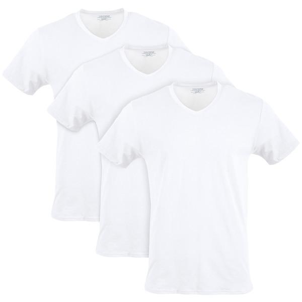 Men's Cotton Stretch V-Neck T-Shirt (Artic White)