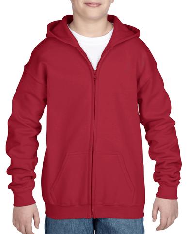 Youth Full Zip Hooded Sweatshirt (Cardinal Red)