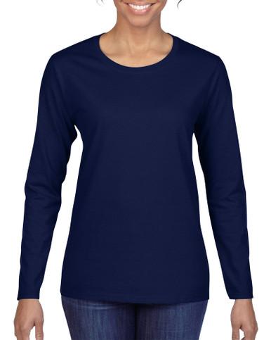 Women's Heavy Cotton Long Sleeve T-Shirt (Navy)