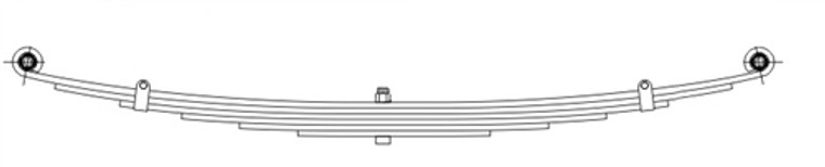 "1953 - 1962 Corvette heavy duty rear leaf spring, measures 24 x 27, 5 leaves, 2"" wide"