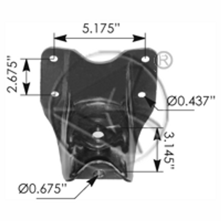 """Rear of rear leaf spring hanger for 1981 - 1991 F350 Chassis Cab with 2-1/4"""" wide leaf springs"""