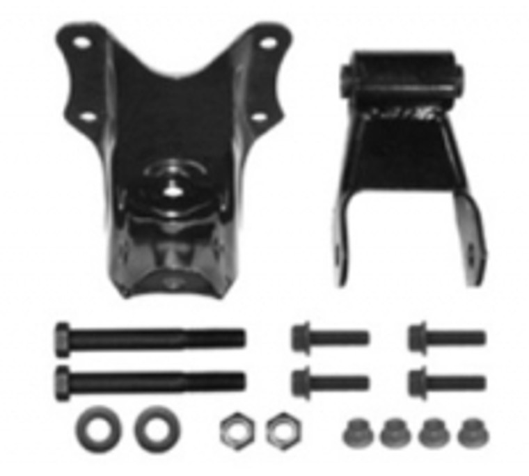 """Hanger / Shackle Kit 1992 - 1998 F350 with dual rear wheels and 2-1/4"""" wide rear leaf spring"""