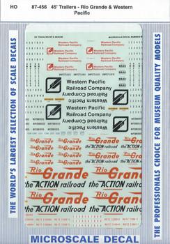 HO 1/87 Microscale 87-456 Denver &Rio Grande, Western Pacific 45' Trailer Decals