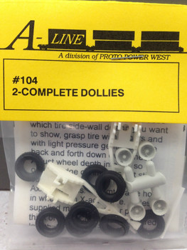 HO 1/87 A-Line # 104 -    2-Complete Single Axle Trailer Dollies - (2 each)