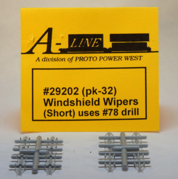 HO 1/87 A-Line # 29202 Short Windshield Wipers, uses #78 Drill (32 pack)