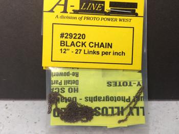"HO 1:87 A-Line # 29220 Black Chain  12""  - 27 links per inch"
