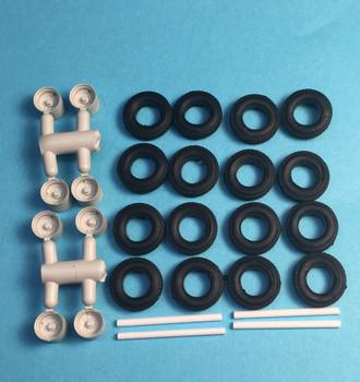 HO 1:87 A-Line # 50003 2-Hole Trailer Disc Wheels w/axles & Tires (8 pcs.)