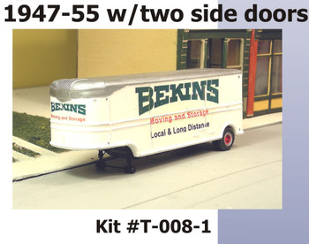 HO 1:87 Sylvan T-008-1 - 32' Fruehauf BEKINS MOVING VAN Trailer - 1947-55 KIT
