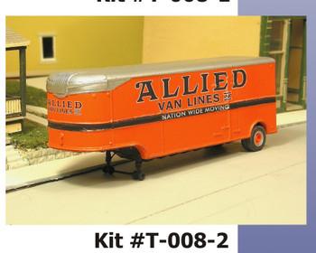 HO 1:87 Sylvan T-008-2 - 32' Fruehauf ALLIED MOVING VAN Trailer - 1947-55 KIT