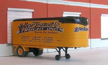 HO 1:87 Sylvan T-017-1 - 1936 Fruehauf 22' Van Yellow Transit Trailer KIT