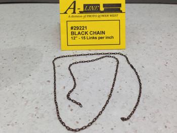 "HO 1:87 A-Line # 29221 Black Chain 12"" - 15 Links per inch"