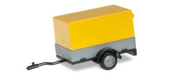 HO 1:87 Herpa # 51576-002 Car Trailer w/Canvas Cover Grey/Yellow