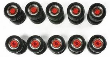 HO 1/87 Herpa # 52603 5 Sets Of Truck Wheels - Chrome/Red - 11.4mm diameter