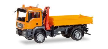 HO 1/87 Herpa # 308267 MAN TGS M 3-Way Dump Truck w/Hoist - Orange