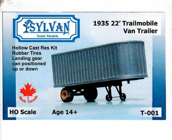 HO 1:87 Sylvan # T-001 - 1935 - 22' Trailmobile Van Trailer KIT