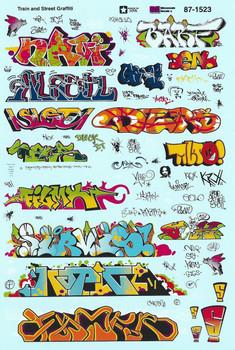 HO 1:87 Microscale # 1523 Train and Street Graffiti Decals