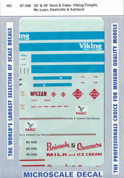HO 1:87 Microscale 87-386 Viking Freight Vehicle Decals