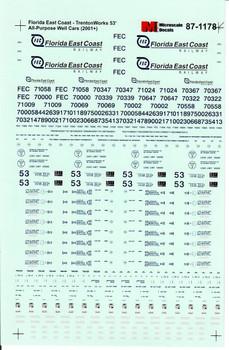 HO 1:87 Microscale 87-1178 Florida East Coast 53' A-P Well Cars - 2001+
