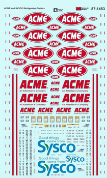 HO 1:87 Microscale 87-1453 Acme & Sysco Trailer Decals