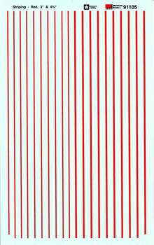 """HO 1:87 Microscale # 91105 Striping 3"""" & 4-3/4"""" Wide Red Decals"""