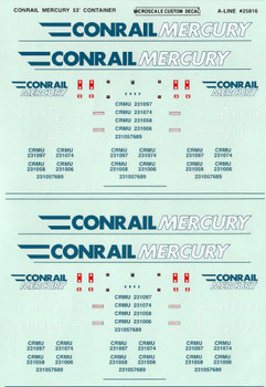 HO 1/87 A-Line # 25816 Conrail Mercury 53' Container Decals
