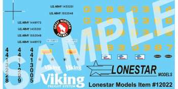 HO 1/87 Lonestar # 12022 Decal Set for Flat Bed Great Northern, Strick, US Army