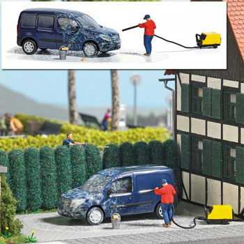 1:87 Busch # 7825 Pressure Washer w/M-Benz Citan, Pressure Washer, Figure & Bucket