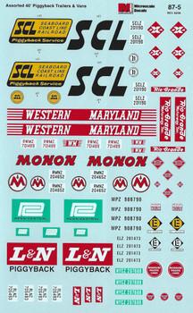 HO 1:87 Microscale 87-5 Asst. 40' Trailers Piggyback Van SCL, PC, Monon, L&N,Decals