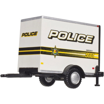 HO 1:87 Atlas 60000098 Single Axle Box Trailer - White w/ Police 911 Livery