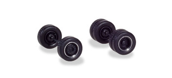 HO 1:87 Herpa 54041 Wheel Sets (2 sets of 4 axles) Tractor, Black w/Chrome Ring