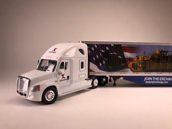 HO 1:87 TNS-16104 AAFES Freightliner Cascadia sleeper (Veteran's Shopping) w/ 53' dry van