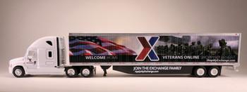 HO 1:87 TNS-20107 AAFES Freightliner Cascadia sleeper (Welcome Home) w/ 53' dry van
